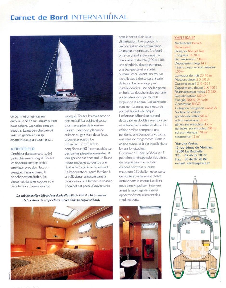Michel Tual, désigner intérieur de catamarans