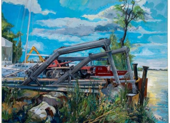 michel-tual-peinture-Port-Lavigne-le-chariot-1