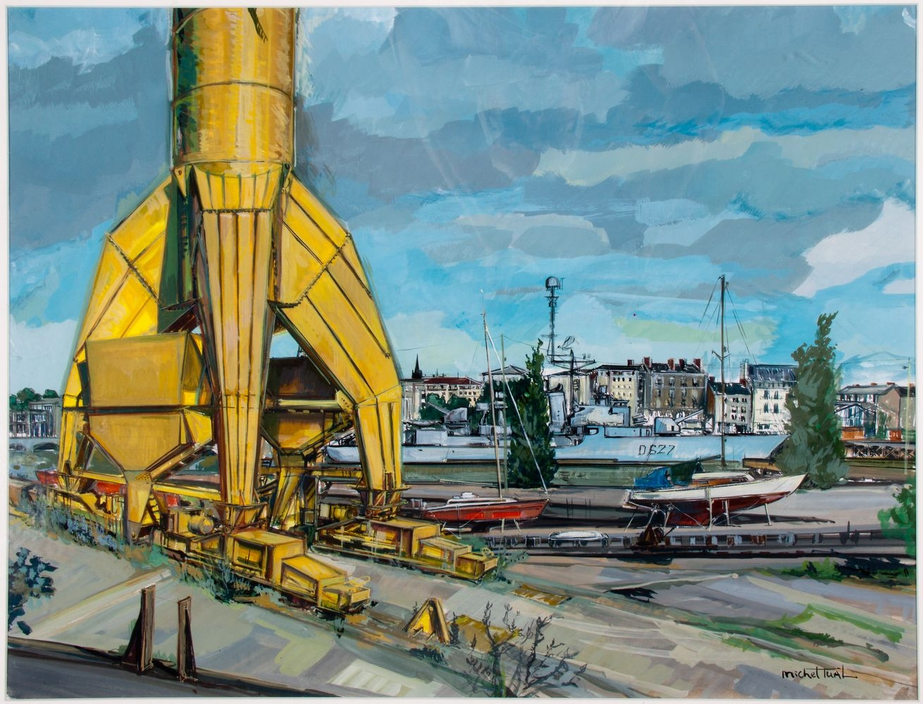 Peinture La Grue Titan Jaune - Michel Tual