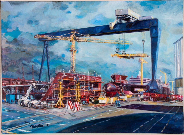 Peinture Le Chantier de l'Atlantique - Michel Tual