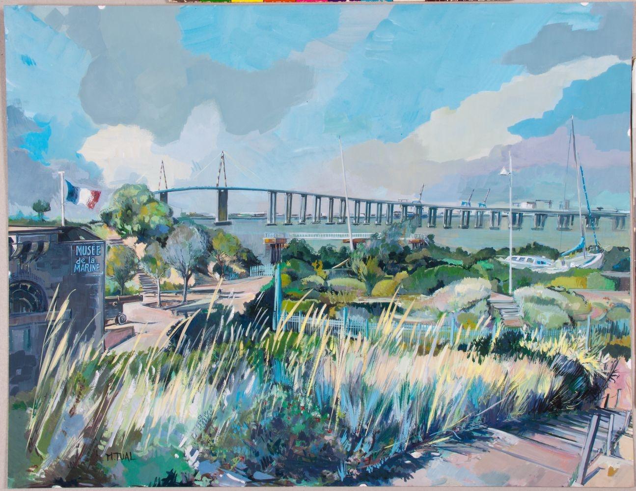 Peinture Le Pont de St Nazaire - Michel Tual