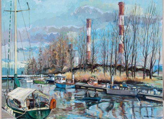 Peinture Le Port de Cordemais - Michel Tual