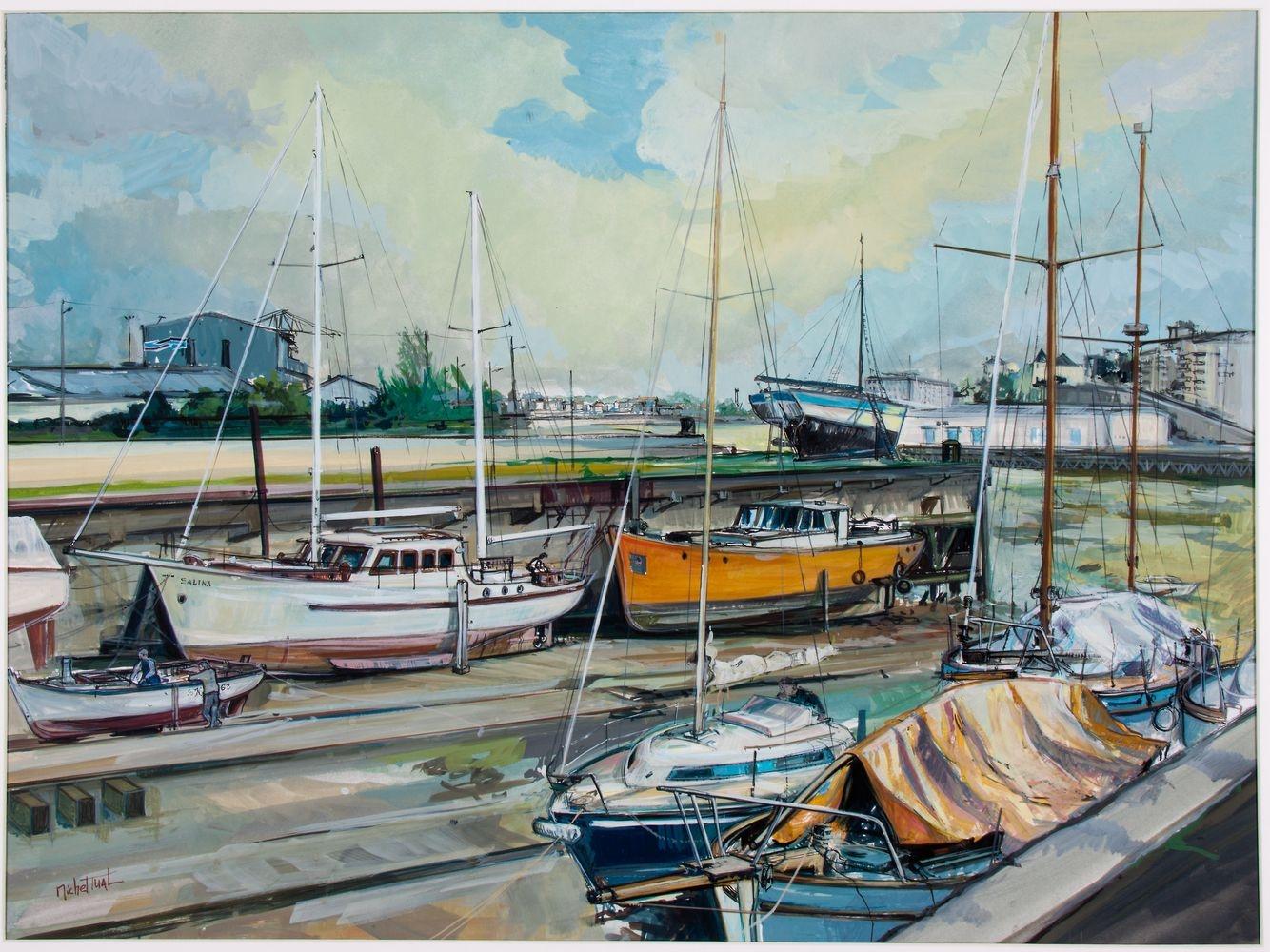 Peinture la Cale 2 l'île - Michel Tual