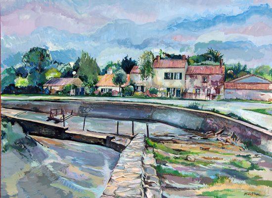 Peinture le port de la maison verte - Michel Tual