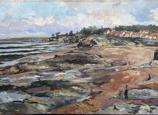 Peinture Plage Marée Basse - Michel Tual